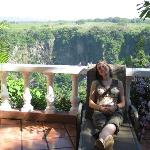Sitting on the veranda on the edge of a rain forest filled canyon