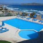 View of pool and beach from Renieris Hotel