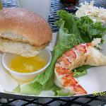 Grilled lobster tail, notice the coleslaw!
