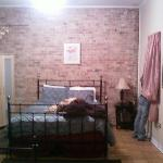 The main bed area (my stuff on the bed and friend in the window)