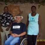 Me with the owners of a geusthouse in Masabuka after breakdown of Land Rover in Zambia