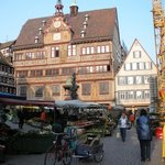 The old Rathaus (town hall) am Markt during a market which happens weekly.