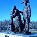 Lewis & Clark with their dog, Seamen.
