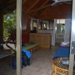 View from outside into bungalow