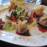 Brie stuffed wonton appetizer