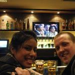 Watching the inauguration at the Hard Rock in Barcelona, Spain