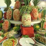 Sculptures de pastèque réalisée dans le restaurant