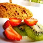 Breakfast - Banana cake with fruits.. yummy!