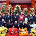 My Wife, me and staff at Lion Dance