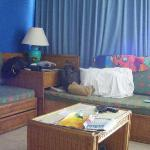 En la sala sofas camas individualles