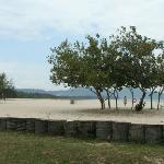 The private beach at our second hotel, Shangri La's Rasa Ria Resort.