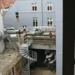 View from my hostel window. The garden had some mad murals.