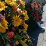 memorial flowers at Dachau