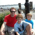 Nathan and my boys across from statue of Liberty