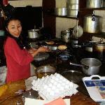 Mrs Rigzin, making a Ladakhi / Tibetan Bread....yummy