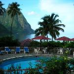 Hummingbird Resort view to Soufriere and Piton