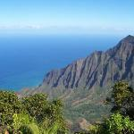 The Napali Caost Hawaii.  Scott and I hiked to the summit and this was the view waiting for us.
