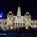 Night view of the City Hall Ho Chi Minh City