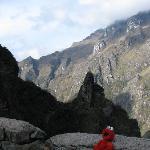 Elmo near the mountains