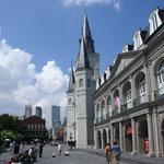 View of Presbytere next to church on Jackson Square