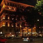 hotel facades at night.