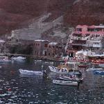 Close up of Amoudi Villas and 2 best restaurants below