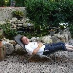 une sieste devant le bassin à poissons