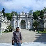 In front of the 'Treasury Gate' of Dolmabahçe Palace