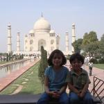 In front of the Taj Mahal.