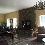 Lodge fireplace area