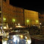 Siena, enjoying wine and sandwiches overlooking Piazza del Campo.
