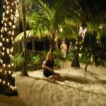 me under the palm trees (watching out for crabs! lol)