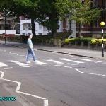 Walking across Abbey Road, London.  I should have taken my shoes off.  I admit that this was a b
