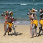 September 2008: Aboriginies performaing a whale calling dance to promote a new film, Whaledreame