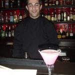 lovely waiter with the lovely strawberry cocktail!!