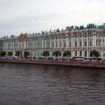 The Winter Palace seen from the River Neva.