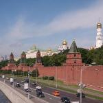 The walls of Kremlin along the Moskva River.