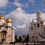 Cathedral Square inside the Kremlin. The Cathedral of the Dormition and Cathedral of the Archang