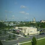 View from hotel room of TGI's and Seaworld