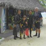 Me and my son diving with Karl and Isa.