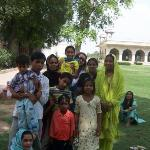 Local tourists inside the fort area posing with a tourist.