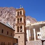 The monastery bell tower, and one of the foothills of Mt. Sinai