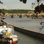 Vltava river and Prague's famous St Charles Bridge
