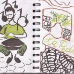 Un joueur d'instrument étrange, entre le djembé et le plat à tajine... Non loin de La Pedrera (G