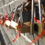a couple could buy a love lock, hang it on the string and throw the key away so that their love