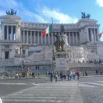 Piazza di Venezia.  It's huge, and Kelly said you're not allowed to sit on the steps.  The polic