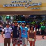 Me, Corey, Luke, and Kenzie at the the entrance to universal