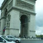 taken from a cab, the very crazy arc de triomphe traffic