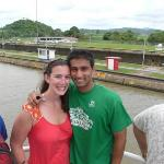Sunny andme at the second set of locks we went through on the Panama Canal.
