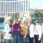 All the girls in front of the Bellagio.